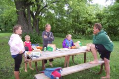 Photo of Canoer's getting ready for lunch after a wonderful day on the river.