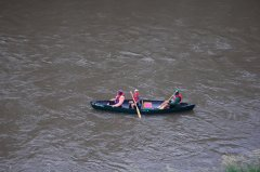 Photo of a young canoers taking a turn at the paddle.