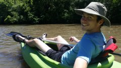 Photo of Lyon SWCD Intern in a kayak.