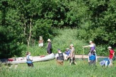 Photo of lining up to launch the canoes and kayaks.